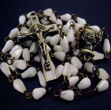 Mother of Pearl First Communion Gift Rosary St. Benedict bronze cross NECKLACE