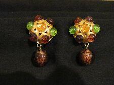 Vintage Signed Dominique Aurientis Paris Haute Couture Glass Beads Clip Earrings