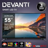 "Devanti LED Smart TV 55"" Inch 4K UHD HDR LCD TV Slim Thin Screen Netflix YouTube"