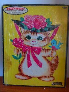 "Vtg. ""Fuzzy Wuzzy""  Flocked Pre-school picture puzzle frame tray #4422 CAT& BIRD"