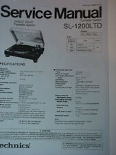 TECHNICS SL-1200 LTD TURNTABLE SERVICE MANUAL 30 Pages