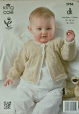 KNITTING PATTERN Baby Long Sleeve Jacket with textured Flowers design DK 3736