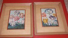 2 Vintage Framed Floral Prints 10 X 12.5 Inches