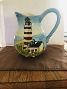 Vintage Lighthouse; Land / Sea Pitcher by Kate McKastio. Certified International