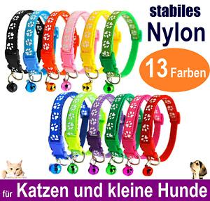 Nylon Katzenhalsband für Katzen🐱& kleine🐶Hunde 13 Farben Glöckchen🔔stabil Neu