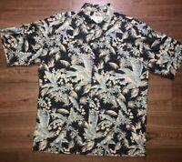 Tori Richard Men's Sz L Floral Parrot Cotton Lawn Hawaiian Aloha Camp Shirt