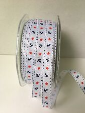 "3/8"" Grosgrain Ribbon w/Anchors & Stars - May Arts - 455-38-01 White - 5 yds"