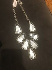 NWT Kendra Scott HARLOW Rhodium Plated Suspended Ivory Mother of Pearl Necklace