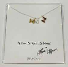 Disney Parks Collection Be Kind Be Sweet Be Minnie Bows Sterling Silver Necklace