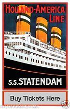 Holland America Line SS Statendam Poster 12 x 18