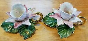 Antique CAPODIMONTE 1771-1834 Italy Porcelain & Gold Floral Candlestick holders