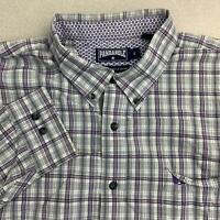 Panhandle Slim Button Up Shirt Mens Sz XL Purple Gray Long Sleeve Cotton Plaid