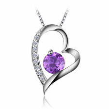 1.4ct Gorgeous Natural Deep Purple Amethyst Heart Pendant Necklace 925 Silver