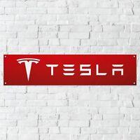 Tesla Banner Garage Workshop PVC Sign Trackside Car Display Model S Model X RED