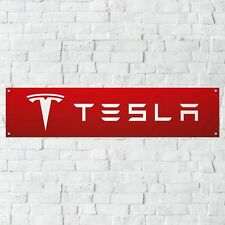 Tesla Banner Garage Workshop PVC Sign Trackside Car Display Model S Model X RED
