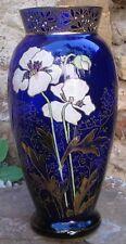 -Vase Art Nouveau en Verre Emaillé 30,5 cm de hauteur
