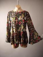 Dark Floral Botanical Print Victorian Goth Romantic Peplum Top 257 mv Blouse M L