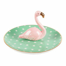 Ring Stand Dish Tray Ceramic Pink FLAMINGO Stars Storage Jewellery Key Holder