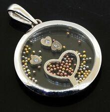 14K white gold elegant lovely diamond floating heart pendant