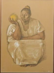 Francisco Zuniga, noted Mexican artist, vintage signed Lithograph 25 x 19