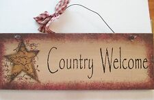 """Country Primitive Style Home Decor Wood Sign """"Country Welcome"""" 11 x 4 Inch"""