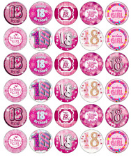 18th Birthday Girl x 30 Cupcake Toppers Edible Wafer Paper Fairy Cake Toppers