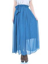 Fashion S/M Fit Royal Blue Semi Sheer Chiffon Matching Ribbon Sash Maxi Skirt