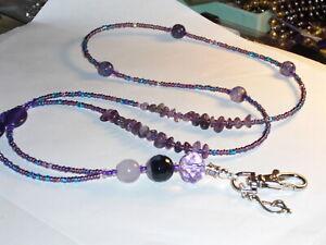 "Purple Beads~ID Badge Holder~Lanyard~Oval Stone&Amethyst~NEW~38""~Buy 3 SHIP FREE"