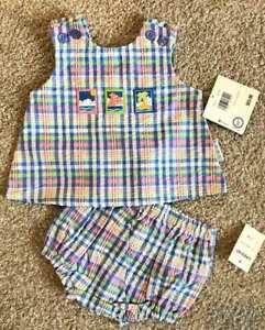 Healthtex Baby Infant Baby Girl Beach Themed Plaid Sunsuit NWT 3/6m