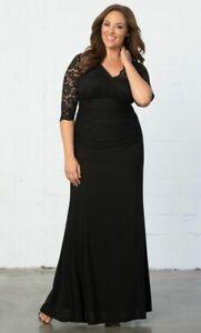 Kiyonna Womens Maxi Gown 2X 18 20 Black Soiree MOB Formal Trumpet Skirt Made USA