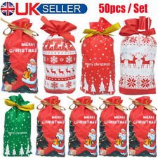 50x Small Christmas Gift Bags Xmas Wrapping Present Bags Paper Packaging Candy