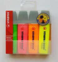 4 Pack PASTEL Stabilo Boss Highlighters Assorted Colours, FRESH NEW STOCK