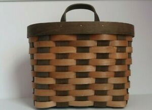 VINTAGE SMALL BROWN MULTI WALL MOUNT WICKER MAIL MISC. BASKET