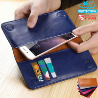 Genuine Leather Universal Magnetic Flip Wallet Pouch Bag For iPhone Samsung