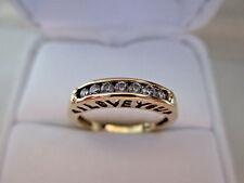 """""""I LOVE YOU"""" Solid 10K Yellow Gold 7pcs Natural Diamonds Engagement Ring"""