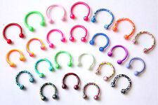 16g Bright Color Jewelry HORSESHOE ring CBB bar Helix Conch Tragus Piercing