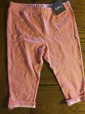 NWT Tea Collection Girls Pink Striped Cuffed Capri Cargo Pants Size 10