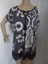FYLO LONDON Small BLACK & WHITE FLORAL PRINT TUNIC BLOUSE shirt scoop lace trim