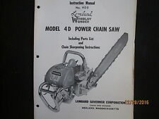 LOMBARD Model 4D Power Chain Saw Instruction & Parts Manual Original 1950s