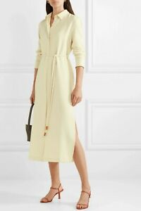 NWT THEORY Belted Crepe de Chine Midi Dress, Pale Amber, Large, MSRP $455