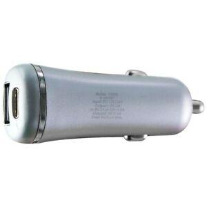 Just Wireless Dual USB- C and USB-A Car Charger With 5.4amps - Slate Gray