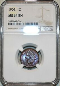 NGC MS-64 BN 1902 Indian Head Cent, Attractively toned & Razor-sharp.