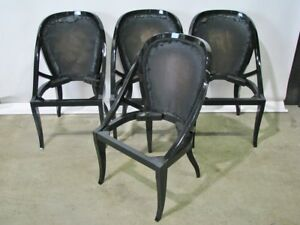 4 Vintage Art Deco Mastercraft Black Lacquered Dining Chairs; Restored