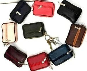 Real Leather Zip Coin Pouch Bag Key Holder Purse Soft Wallet Men Ladies Mini