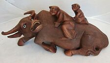 """Antique Chinese Carved Wood Statue of Ox or Water Buffalo w/ 2 Children  (10.7"""")"""