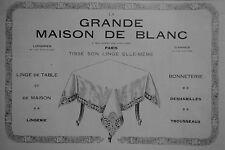 PUBLICITÉ LA GRANDE MAISON DE BLANC LINGE DE TABLE LINGERIE BONNETERIE