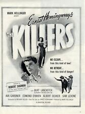 "1946 Movie RARE PRINT AD ""The Killers"" Burt Lancaster Ava Gardner Edmond O'brien"