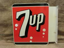Vintage 1963 Stout Double Sided Flanged Metal 7up Sign > Antique Old 8233