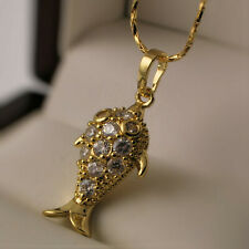 """Yellow Gold Filled Fish Clear Zirconia CZ Pendant 18"""" Chain Necklace UK -N31"""