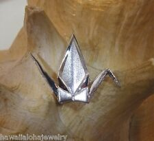 35mm Hawaiian 14k White Gold Sadako Peace Crane Wings Up BS Origami Pendant #2